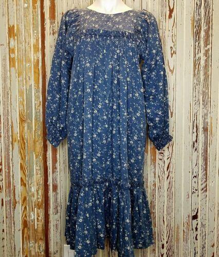 Vintage Native American Designs Prairie Dress Medium Blue Floral Ruffle Modest