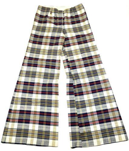 Vtg 60s 70s Cotton High Waist Bell Bottom Plaid Pants 30x31 Flared Wide Leg GoGo