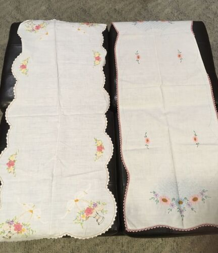 """Embroidered Rectangle 2 Table runners 38"""" X 16""""  Crochet Edged Floral Basket"""