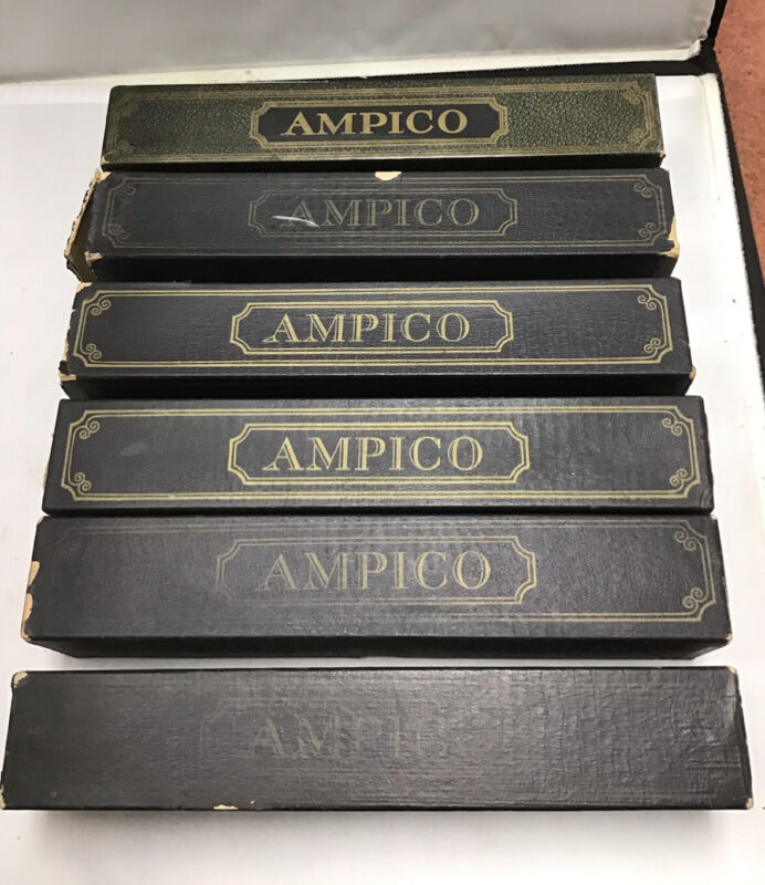 VINTAGE AMPICO PLAYER PIANO ROLLS LOT OF 6 IN BOXES