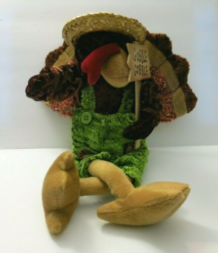 "Dandee Turkey Plush ""Gobble Gobble"" Sign Straw Hat Sitting Collector"