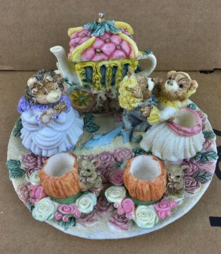 1996 Popular Imports Design Decorative Miniature Tea Set Bears Cinderella 10 Pcs