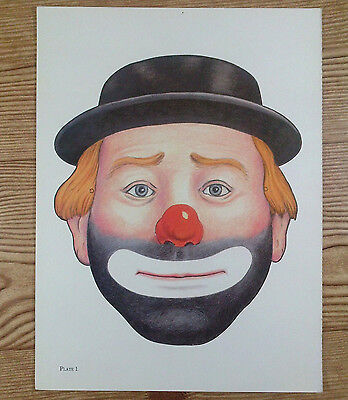 Vintage Die Cut Out Paper Hobo Clown Mask Poster Art Halloween Face Plate 1 9x12 - Halloween Cut Out Face Masks