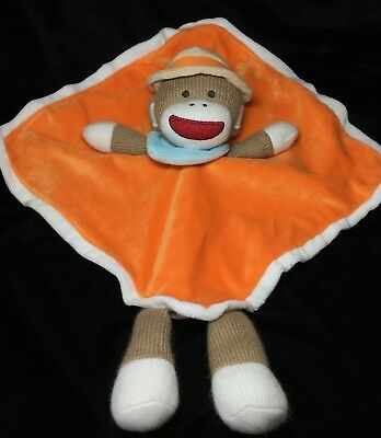 Baby Starters Orange Sock Monkey Security Blanket Brown Lovey Rattle Soft Toy  ()