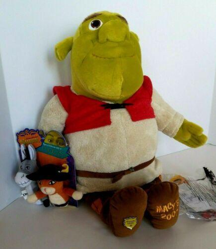 "Shrek-Macys 2007 Large 20"" Plush Toy+ Finger Puppets-Dreamworks+McDonald toy-NEW"