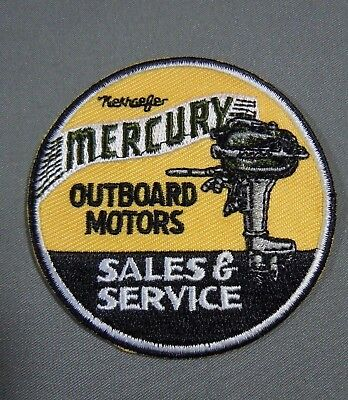 """MERCURY Outboard Motors - Sales & Service - Iron On Jacket - Cap Patch 2.5"""", used for sale  Shipping to India"""
