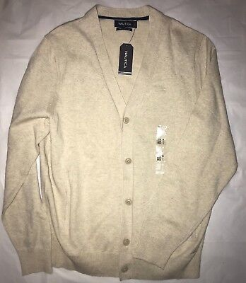 NAUTICA Men's Button Up Sweater Top Shirt Oatmeal Large L New With Tags