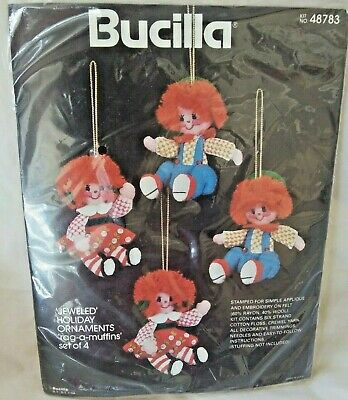 Bucilla Jeweled Holiday Ornaments Rag-a-Muffins #48783 Set of 4 New Sealed