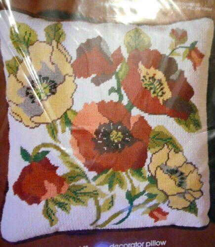 Bucilla Needlepoint Pillow Kit Orange Red Yellow POPPIES Poppy Flowers Sealed