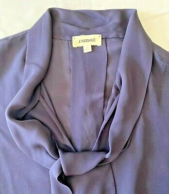L'AGENCE Navy Blue Silk Tie-Neck V-Neck Blouse Button Up Top Size Large EUC