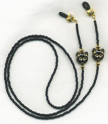CAT LOVERS Black & Gold Eyeglass~Glasses Holder Necklace Chain *CUSTOM LENGTH*