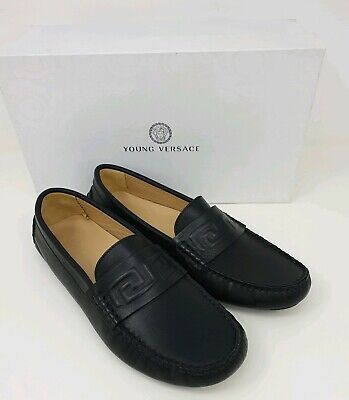 YOUNG VERSACE Leather Moccasins Loafers Shoes with Greca Trim -Black -UK 6/EU 39