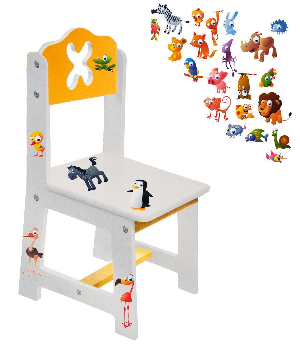 lustige Eulen auf dem AST Kinderstuhl wei/ß // gelb aus sehr stabilen Holz Beistellstuhl Kinderm/öbel f/ür Jungen /& .. alles-meine.de GmbH Stuhl f/ür Kinder incl Name