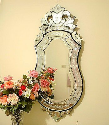 "47"" x 21"" Clear Venetian Art Deco Mirror Wall Decor"