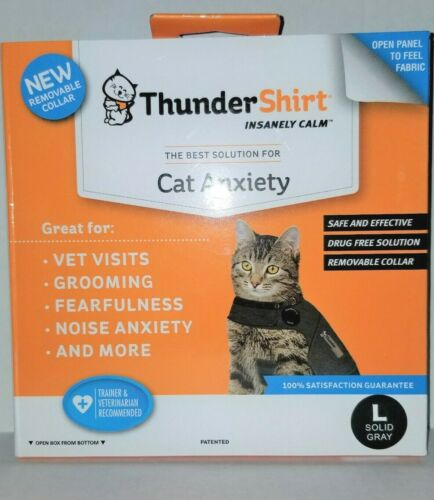 ThunderShirt Classic Cat Anxiety Jacket, Heather Gray, Large-Brand New