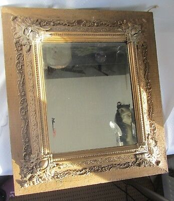 Antique Large Beveled Mirror Gilt Gesso Frame Damaged
