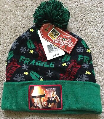 A Christmas Story Hat (New A Christmas Story Green Black Fragile Lam Light Pom Adult Cap Hat)
