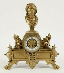 French Charpentier Gilt Bronze Figural Mantel Clock w/ Image of Venus by Carrier