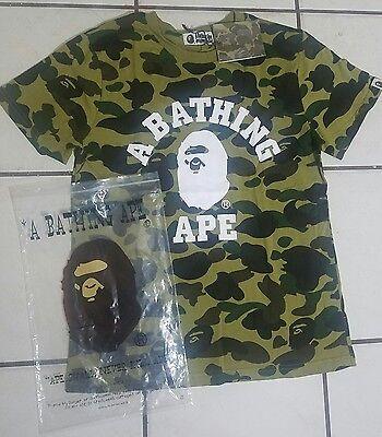 Men's Bape A Bathing Ape T-Shirt Green Camo Size Large