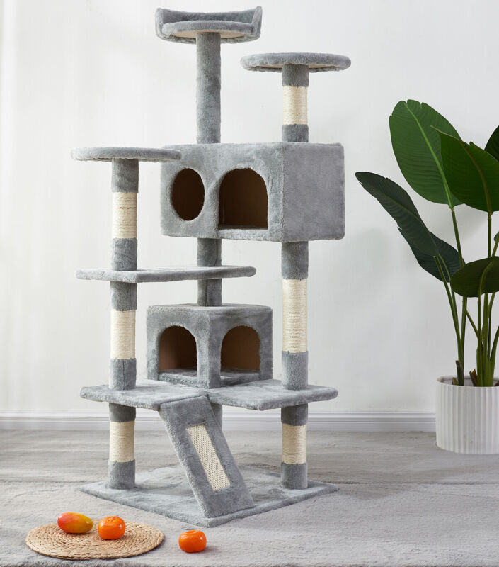 Cat Tree Apartment Play House Tower Furniture with Sisal handrails&Armrest Board