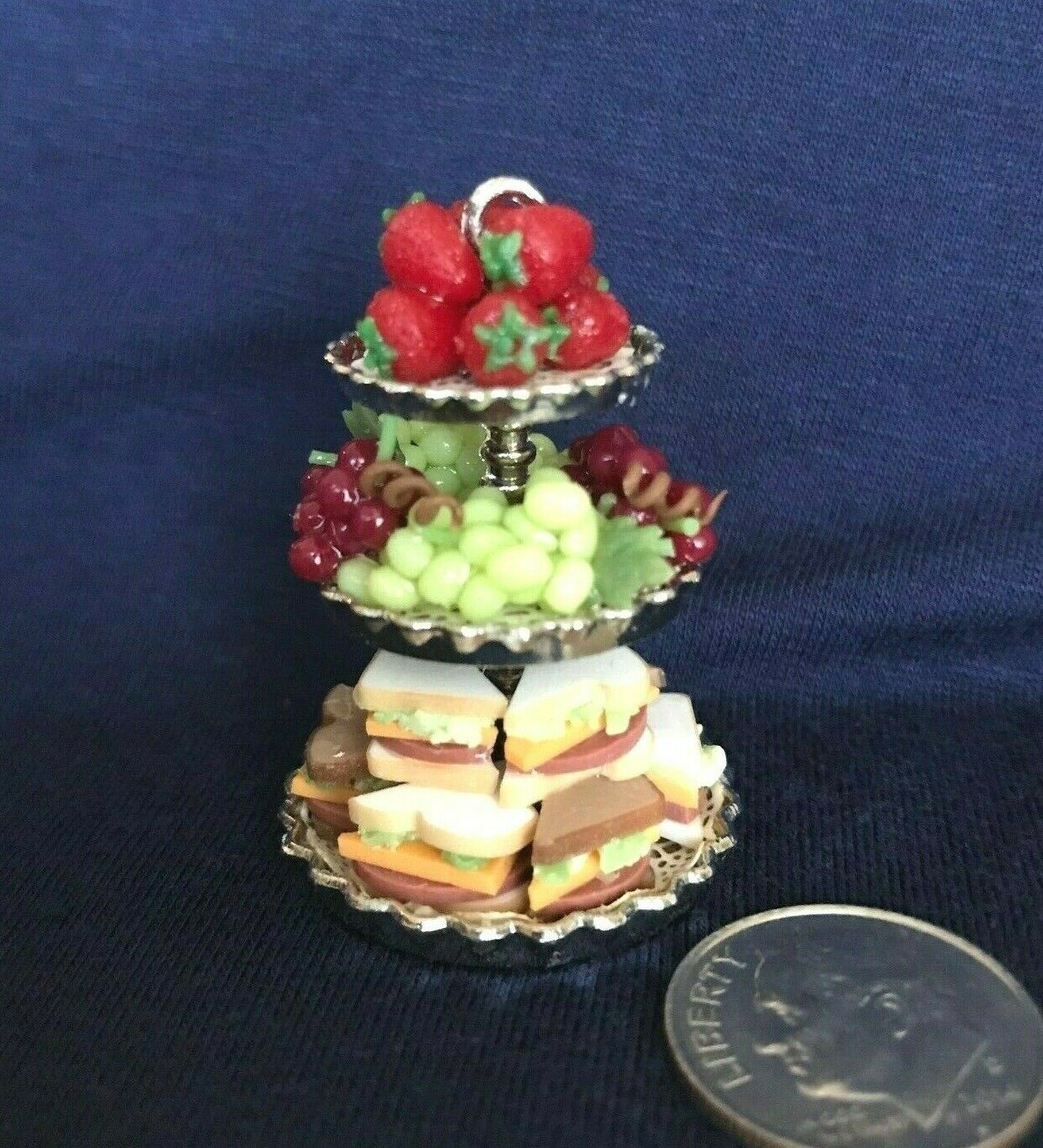 DOLLHOUSE MINIATURE 3 TIERED SANDWICH FRUIT FILLED STAND - $29.50