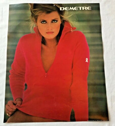 "DEMETRE Vintage Ski Sweater Girl Advertising Poster Print 18.5""x15"" RARE 1980s"