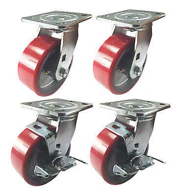 4 Swivel Casters 5 Heavy Duty Cast Iron Hub Non Skid Mark Wheels 2 Swivel Brake