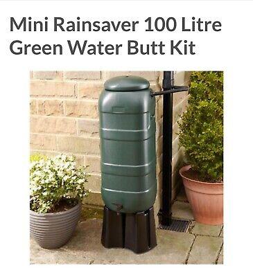 Mini Rainsaver 100L Green, Garden Water Butt Kitt - Lid, Diverter, Tap & Stand