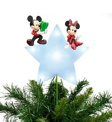 NEW - Disney Mickey Mouse and Minnie Mouse Light Up CHRISTMAS TREE TOPPER 2013