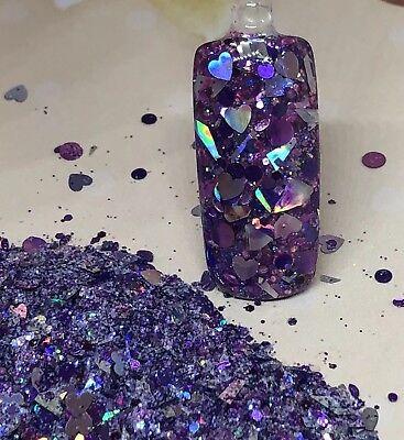 glitter mix acrylic gel nail art    PURPLE STERLING