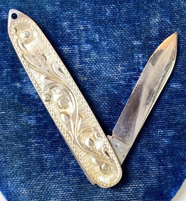 Sterling Silver pocket knife, Fob Pendant, Mid Century, Japan, engraved 925