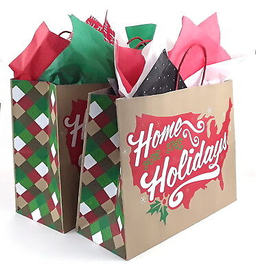 5x Large Gift Bags Kraft Paper 16x12x6 in Home for the Holidays - Large Paper Bags