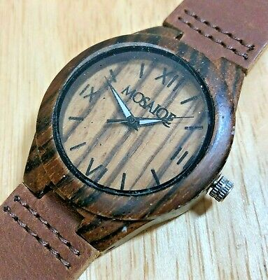 Mosaiqe Mens Brown Solid Wood Leather Band Analog Quartz Watch Hours~New Battery
