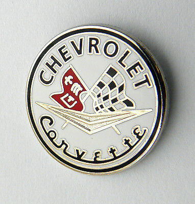 CHEVROLET CHEVY CORVETTE FLAGS ROUND LAPEL PIN BADGE 7/8 INCH