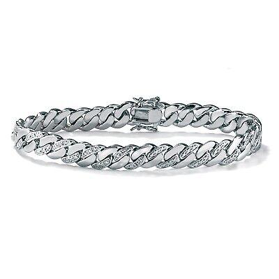 """Men's Diamond Accent Curb-Link Bracelet Platinum-Plated 8.5"""""""