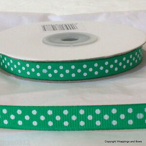 Full 25 mtrs Polka Dot Grosgrain Ribbon 10mm wide *Choose Colour* Spotty / Dotty