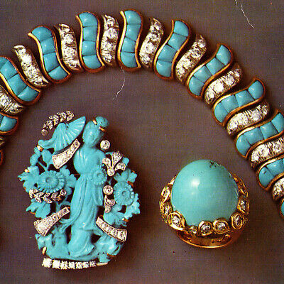 Vintage 1960s Seaman Schepps Turquoise Diamonds Postcard Luxury Jewelry Park Ave