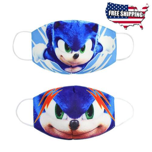 2 pcs Kids Size Super Sonic Hedgehog Cartoon Cotton Masks Half Face Mouth Cover