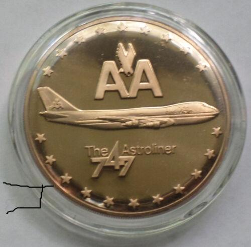 AA American Airlines 747 Astroliner Jet Inaugural Flight Vintage Bronze Medal