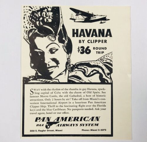 1940 Pan Am American Havana Miami Fly By Clipper Plane Advertising Print Ad