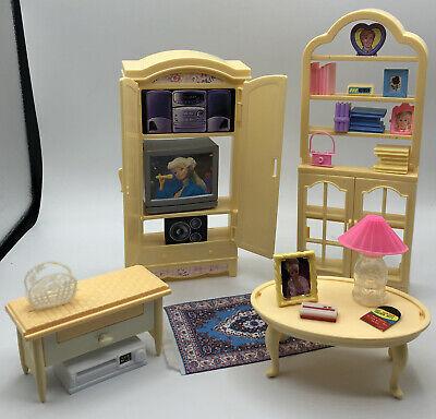 Barbie Doll GRANDMAS Tv Hutch Toy Bench Table Home Living Room Furniture Playset