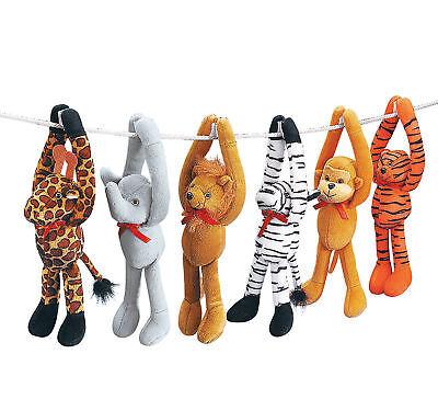 6 ZOO ANIMALS Plush Long Arm hanging LUAU SAFARI Baby Shower Decorations favors - Baby Zoo Animals Baby Shower Decorations