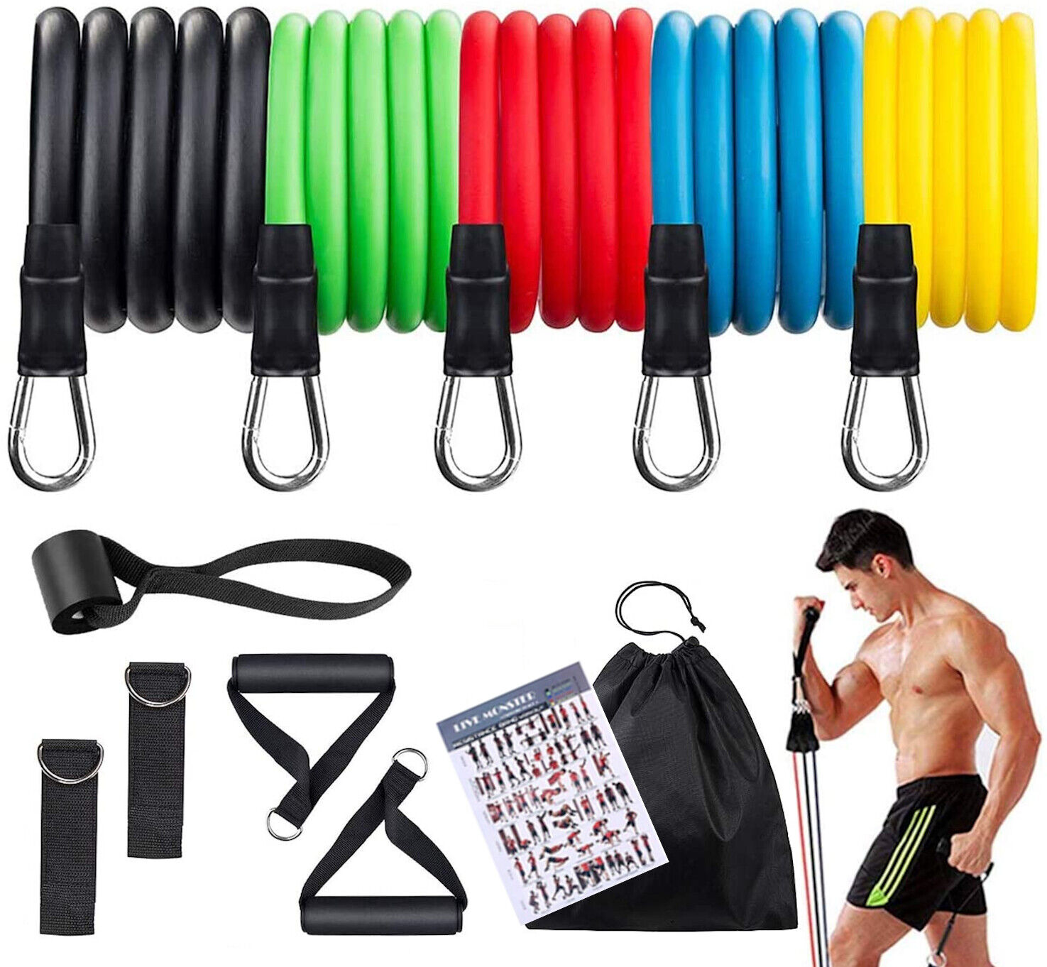 OWLHAUS Resistance Bands Home Gym for Men and Women; 12-Piec