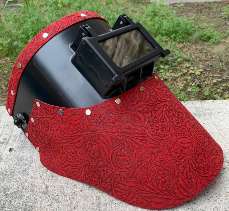 Tigerhood welding helmet red floral leather