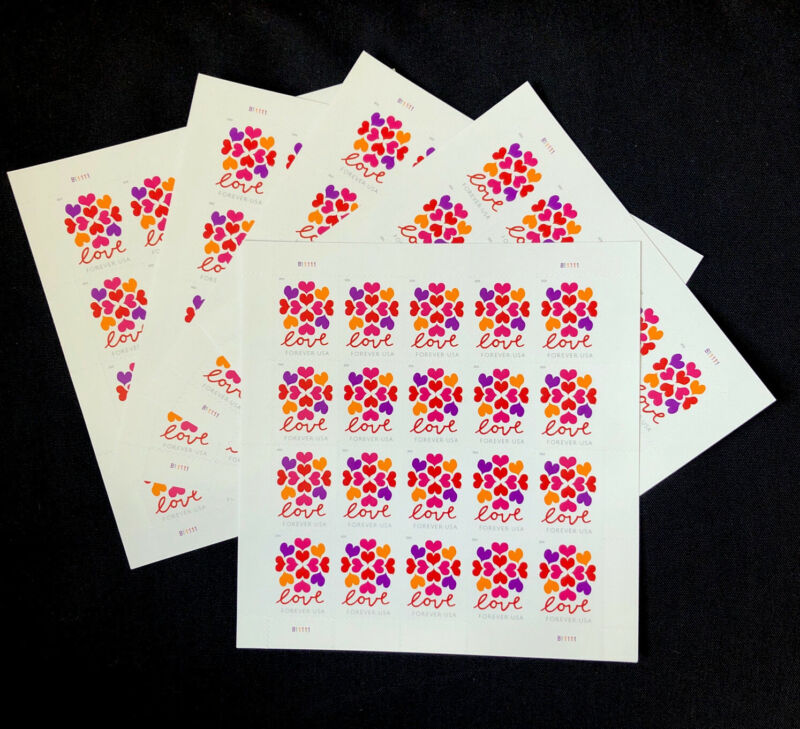 FOREVER STAMPS 100 (HEARTS LOVE 5 SHEETS = 100)