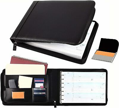 Business Check 7 Ring Binder For 3-up Checks Pu Leather Portfolio Checkbook Cove