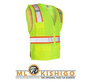 ML Kishigo Safety Vest Mesh Construction Lime 1163 ANSI 2 Large