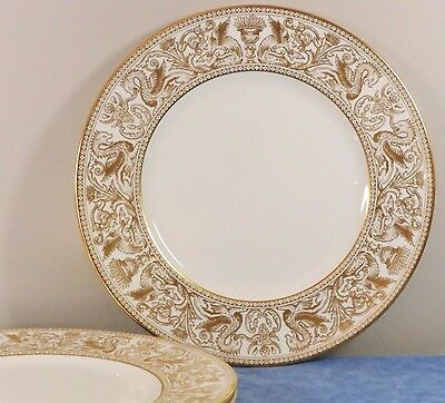 3 Wedgwood Bone China GOLD FLORENTINE Dinner Plates- W4219- VGUC