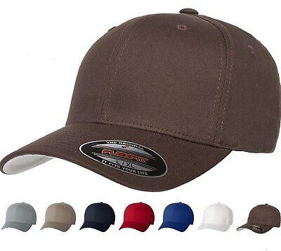 Flexfit - V Cotton Twill Baseball Cap, Fitted, Flex Fit, Ballcap Plain Hat, 5001 - Flex Fit Cotton Twill Cap