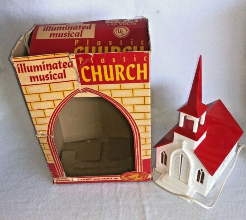 Vintage 60's Illuminated Plastic Church World Wide Ent, Box Musical, Christmas